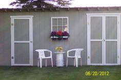 Jeanette Cavadini spiffed up her storage shed by attaching an old chicken coop window outfitted as a flower pot holder.