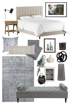 Mountain Bedroom Design for a neutral master bedroom or guest bedroom idea. Shoppable design featuring channeled headboard, plug-in wall sconces, white bedding, and a tufted bench at the foot of the bed Master Bedroom Ideas Master Bedroom Design, Home Decor Bedroom, Bedroom Furniture, Bedroom Ideas, Master Suite, Bedroom Inspiration, Modern Furniture, Coastal Master Bedroom, Bedroom Headboards