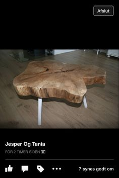 Sofabord af træstub.