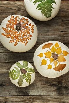 Foliaged Pumpkins: You can harvest the foliage from your own backyard. Click through to find more easy painted pumpkin ideas to try this Halloween.