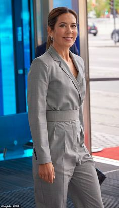 Princess Mary of Denmark wears the same Max Mara jumpsuit she chose for 2019 Danish Industry summit | Daily Mail Online Prince Frederick, Princess Marie Of Denmark, Queen Margrethe Ii, Crown Princess Mary, Mary Elizabeth, Spring Collection, Max Mara, Royal House, Wrap Dress