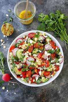 Summer Vegetable Salad With Charred Lime Vinaigrette Is The Perfect Side Dish For All Of Your Summer Meals! #salad #summer #vegetables #glutenfree #vegetarian #healthyrecipe #healthy #easyrecipe