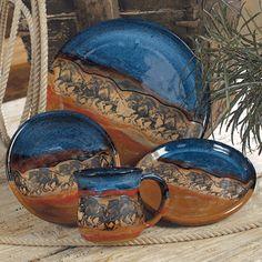 Yeeek !!! LOVE THIS SET !! Wild Horses Pottery Dinnerware Set - 4 pcs