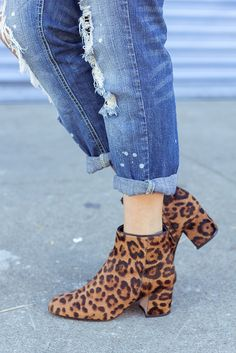 Distressed Denim and leopard booties. My go-to comfy chic pair.