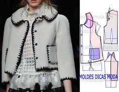 Modelo belo e elegante, o grau de dificuldade deste molde casaco chanel que proponho nesta publicação não é muito elevado.