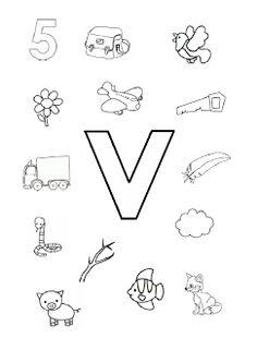 Welk plaatje/woord begint met de letter v?