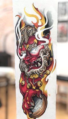 Foo Dog Tattoo Design, Buddha Tattoo Design, Japan Tattoo Design, Japanese Tattoo Designs, Japanese Tattoo Art, Japanese Art, Chinese Sleeve Tattoos, Tiger Tattoo Sleeve, Oni Tattoo