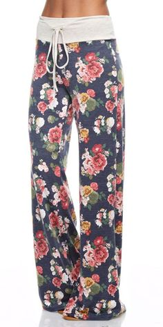 Floral Casual Lounge Pants XL NAVY
