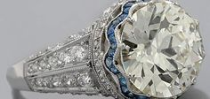 Edwardian diamond and sapphire ring - side view