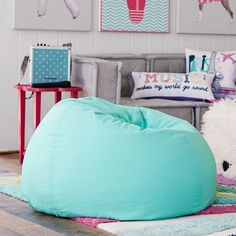 PB Teen Pool Suede Beanbag, Slipcover + Insert at Pottery Barn Teen -... (300 CAD) ❤ liked on Polyvore featuring home, furniture, chairs, accent chairs, blue, recycled furniture, slip covers furniture, slipcover furniture, blue lounge and movie chairs