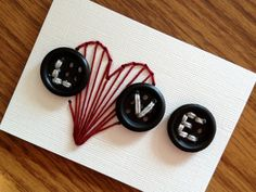 Love with Heart  Button Stitched ACEO 2 by AnythingForMyKids,