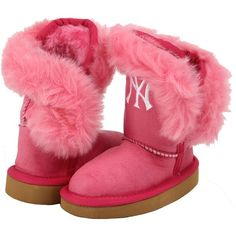 New York Yankees Cuce Girls Youth Mini Me Fanatic Boots - Pink - $52.99