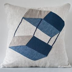 """Fabric collage cushion cover """"Kite"""", linen/blue"""