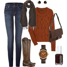 Such a warm and comfy outfit. Love the boots and the scarf, but the other accessories I would change. I might try that nail color though.  :)