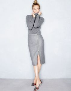 J.Crew women's Collection Italian cashmere turtleneck sweater, zip pencil skirt and Elsie printed snakeskin d'Orsay pumps. To pre-order, call 800 261 7422 or email verypersonalstylist@jcrew.com.