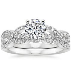 18K White Gold Infinity Diamond Ring Bridal Set (1/3 ct. tw.) from Brilliant Earth