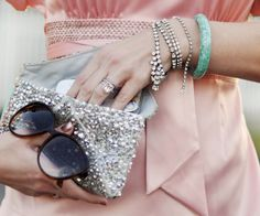 pink satin blouse- silver sequin clutch-rings-bracelets by ...love Maegan, via Flickr