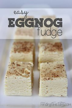 Eggnog Fudge Easy Eggnog Fudge - saving this now for Christmas time!Easy Eggnog Fudge - saving this now for Christmas time! Fudge Recipes, Candy Recipes, Holiday Recipes, Dessert Recipes, Christmas Recipes, Holiday Treats, Holiday Decor, Eggnog Fudge, Eggnog Recipe