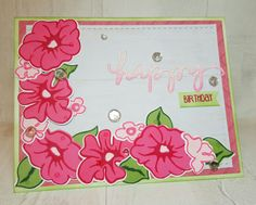 Happy Birthday card created using Altenew stamps and inks, Honey Bee Stamps and Maya Road Happy die