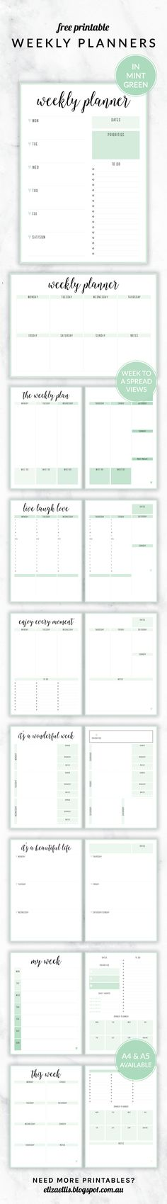 Free Printable Irma Weekly Planners in Mint by Eliza Ellis. With nine different styles, they're the perfect organizing solution for mums, entrepreneurs, bloggers, etsy sellers, professionals, WAHM's, SAHM's, students and moms. Available in 6 colors and both A4 and A5 sizes. Includes week to a page planners as well as week to a spread and two page planners. Enjoy!