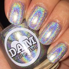 Name: GIRRL Can I Holo? Color: Silver Type: Holographic # Recommended Coats: Sizes Available: All my bases are 5 free - They do not contain camphor, toulene, formaldehyde, dibutyl phthalate ( (Butter London Brill) Silver Nail Polish, Holographic Nail Polish, Silver Nails, Nail Polish Designs, Nail Polish Colors, Nail Art Designs, Polish Nails, Nail Polishes, Gorgeous Nails