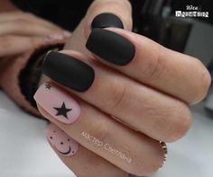 Black and pink nails, Cool nails, Dating nails, Evening dress nails, Luxurious nails, Manicure 2018, Matte nails, Nails with stars