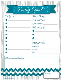 Free printable Daily Goals List - includes space for quiet time and exercise!