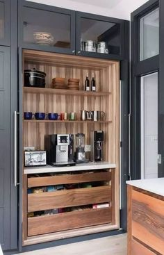 access pantry designed by Neil Norton Design. The doors of the breakfast cupboard . Easy access pantry designed by Neil Norton Design. The doors of the breakfast cupboard .,Easy access pantry designed by Neil Norton De. Home Decor Kitchen, Kitchen Living, New Kitchen, Interior Design Kitchen, Home Kitchens, Kitchen Ideas, Diy Interior, Kitchen Grey, Decorating Kitchen