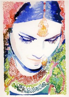 Indian Girl Watercolor Painting by Cate Parr #bohemian #boho http://www.etsy.com/shop/silverridgestudio?ref=pr_shop_more
