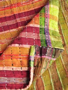 Pink-Wine Cotton  Kantha Double Bed Spread