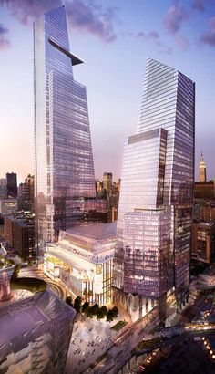 Hudson Yards, 10th Avenue, New York City by Kohn Pedersen Fox Associates Architecture :: south tower, 47 floors, height 273m and north tower, 70 floors, height 408m