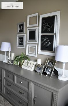 Love this!! We used to write on our mirror. I like this better.  Master Bedroom Chalkboard Gallery Wall, cute idea.