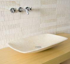 Shaan - Rectangular Shape Natural Galala Limestone Above Counter Basin For Modern Bathrooms