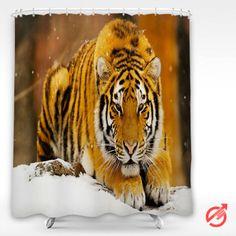 Cheap Tiger Siberian Snow Tiger Shower Curtain