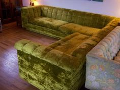 The 1970s~~A wonderful vintage sectional sofa from International Furniture. Features plush crushed-velvet chartreuse green upholstery with button back and large zippered seat cushions. The largest of the two ...