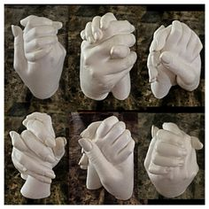 "This is a sculpture I did of my son and I holding hands, when he was almost 3. They are really easy to make and a treasured keepsake!! I also did a bunch of just my sons hand and gave them as gifts to family members. All you need to get to make your own is, ""Alginate"" it's the material dentists use to make impressions of your teeth, so it's perfectly safe for everyone. I purchased mine through my dentist. Use a container that is plastic, like a small sand bucket from the dollar store, since…"