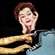 From a 1957 Underwood Typewriter ad. #vintage #office #secretary #1950s #gloves