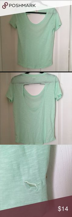 NWOT-Victoria's Secret Mint Green Scoop Back Shirt ☀️☀️New without tag! ☀️☀️Victoria's Secret PINK short Sleeve Mint Green Shirt with Scoop Cut Out Back!  Perfect for Spring Break trips!  Wear it over a bathing suit top or to workout.  Looks great with a bralette underneath.  Item comes from a smoke free and pet free home!  Make REASONABLE OFFERS!  Must sell soon!!! PINK Victoria's Secret Tops Tees - Short Sleeve
