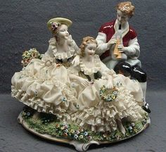 Large Unterweissback German Dresden Porcelain Lace Group Figurine