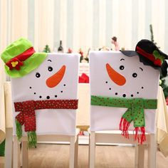 Christmas Chair Cover Snowman Chair Ornaments Prop Xmas Home Party Decor Dulcet Chair Back Covers, Dining Room Chair Covers, Chair Backs, Cute Snowman, Snowman Ornaments, Christmas Chair Covers, Christmas Themes, Holiday Decor, Xmas Decorations