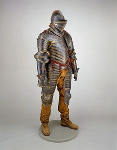 This impressive armor was made for Henry VIII (reigned 1509–1547) toward the end of his life when he was overweight and crippled with gout. Constructed for use on horse and on foot it was probably worn by the king during his last military campaign, the siege of Boulogne in 1544, which he commanded personally in spite of his infirmities. A work of art.