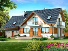 DOM.PL™ - Projekt domu DN KARMELITA GOLD 2M CE - DOM PC1-56 - gotowy koszt budowy Planer, Bungalow, House Plans, Sweet Home, 1, Exterior, Cabin, House Styles, Building