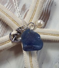 Scottish Seaglass Necklace  Silver Anchor and by byNaturesDesign, $45.00