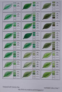 Copic Colour combinations for more GREEN LEAVES - page 1 of 2
