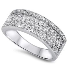20e1ea48432d Platinum over 925 Sterling Silver 1.00 Carat Round Russian Diamond CZ Three  Channel Half Eternity Wedding Engagement Anniversary Band Ring