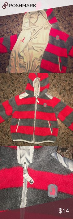 18 mo Reversible fuzzy winter wind jacket coat Rugged Bear 18 month reversible jacket. Great condition. No stains. A little pilling on the fuzzy side, but not much. Pockets on each side. rugged bear Jackets & Coats