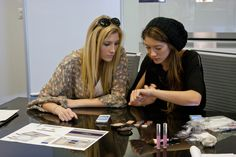 @Elle Fowler and @Blair Fowler finalizing details for their #skylark winter palette