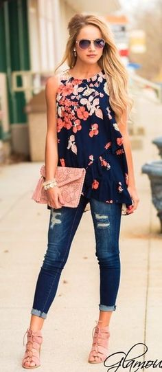 Navy Floral Top + Ripped Skinny Jeans