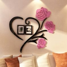 Love Rose Flowers Wall Stickers Home Decoration Accessories for Living Room Decor Frame Sticker Best Gifts adesivo de parede