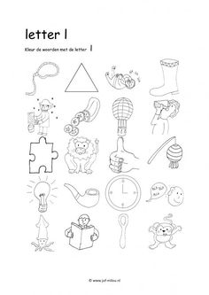 Werkbladen - taal - letters leren ~ Juf Milou Alphabet Worksheets, Kindergarten Worksheets, Teaching Writing, Writing Skills, Learning Letters, Kids Learning, Emergent Literacy, I Love School, Letter L